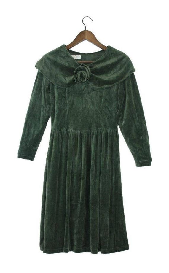 Mocha green velvet rose dress vintage