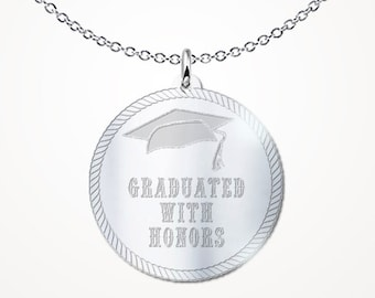 "Graduation Jewelry - Graduation Gift ""Graduated with Honors"" .925 Sterling Silver Necklace"
