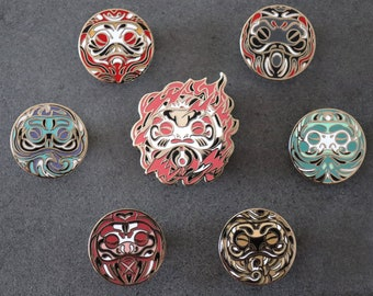 Ki Enamel Pin Collection   Gold Plating Hard Enamel Pin   Good Fortune Japanese Daruma Doll Metal Clutch Pin   Talisman 7 Different Pins