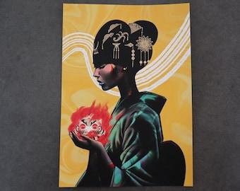 A4 Ki Collection Print   Gold Foil Unique Print   Good Fortune Japanese Illustrated 250gsm Print   Original Artwork By Dom Tsoi