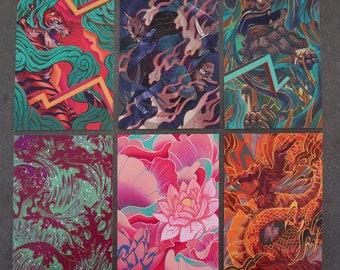 6x Postcard Ki Collection   A6 Mini Artwork Prints   Good Fortune Japanese Illustrated Postcard Set   Original Artwork By Dom Tsoi