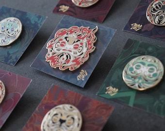 7x Ki Enamel Pin Collection   Gold Plating Hard Enamel Pin   Good Fortune Japanese Daruma Doll Metal Clutch Pin   Talisman Collectable