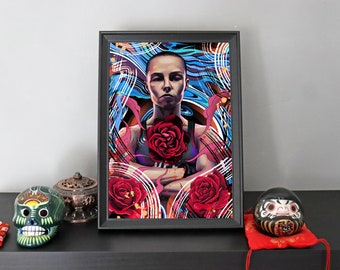 A4 'Thug Rose' Namajunas Print - UFC Fighter - Limited Edition - Digital Illustration Print - Signed and Numbered by Artist - 1 of 50