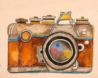 Watercolor Camera Print