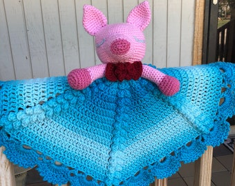 Crochet Piggy Lovey/ Security Blanket. Ready to ship. Pattern by Irarott designs.