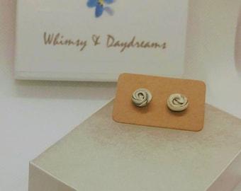 Black/White Swirl Stud Earrings - Polymer Clay - Cute - Mini