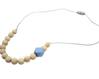Blue Hex Teething Necklace | Nursing Necklace | Baby-wearing Necklace | Hexagon Teething Necklace