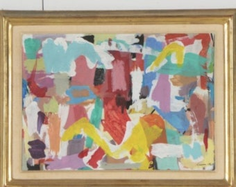 Pair of Vintage 1960's Abstract Oil Paintings