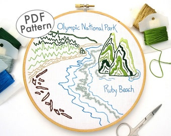 Acadia National Park Hand Embroidery Pattern Pdf Maine Etsy