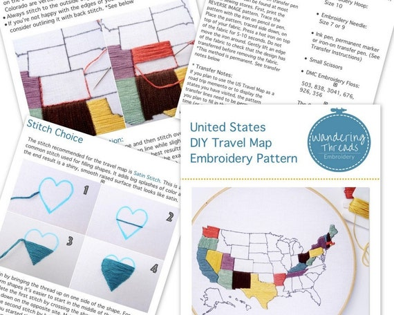 United States Map Hand Embroidery Pattern Us Travel Map Pdf Embroidery Diy Hoop Art Best Travel Gift Travel Tracker Map