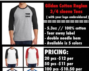 Gildan 3/4 sleeve tees ( with chest logo Embroidered )