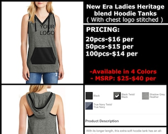 New Era Ladies Heritage blend Hoodie Tanks ( with chest logo Embroidered )