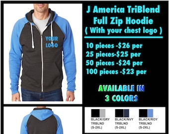 J America TriBlend Full Zip Hoodies  ( with left chest logo Embroidered )