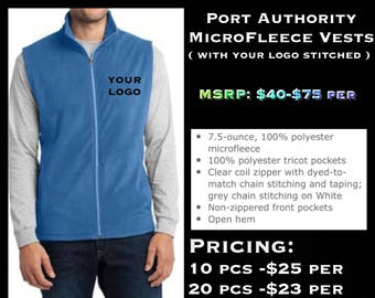 Port Authority microfleece vest ( with left chest logo Embroidered )