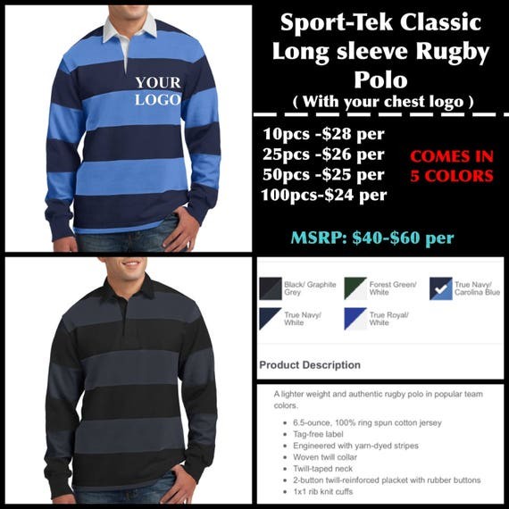 Sport Tek Mens Long Sleeve Rugby Polo With Chest Logo Etsy Rugby union news from sky sports. etsy
