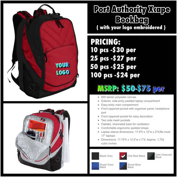 3b41fb5dcd7 Port Authority Xcape Backpack with your logo stitched.   Etsy