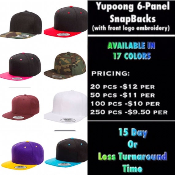 Yupoong Classic Snapback Hats with front logo Embroidered  2f659c6e501