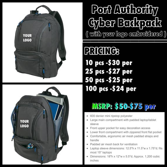 a6dbf437f91 Port Authority Cyber Book bag with your logo stitched.   Etsy
