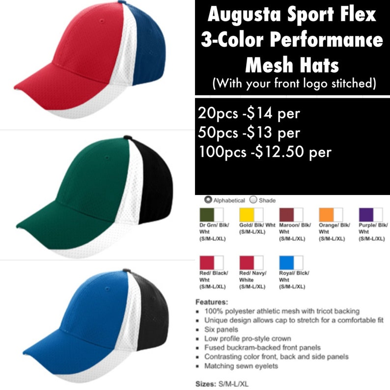 f3cc844d Augusta Sport Flex 3-Color Performance Fitted hats with | Etsy