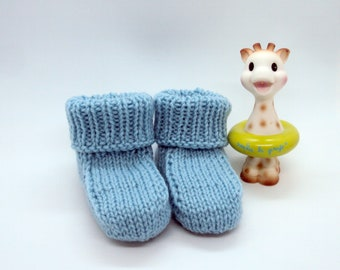 Blue baby booties knitted hands, 3 to 6 months