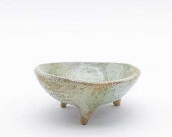 blue tripod midcentury dish jewelry tray handmade jewelry dish Handmade ceramic dish ring dish mini dish incense burner legged dish