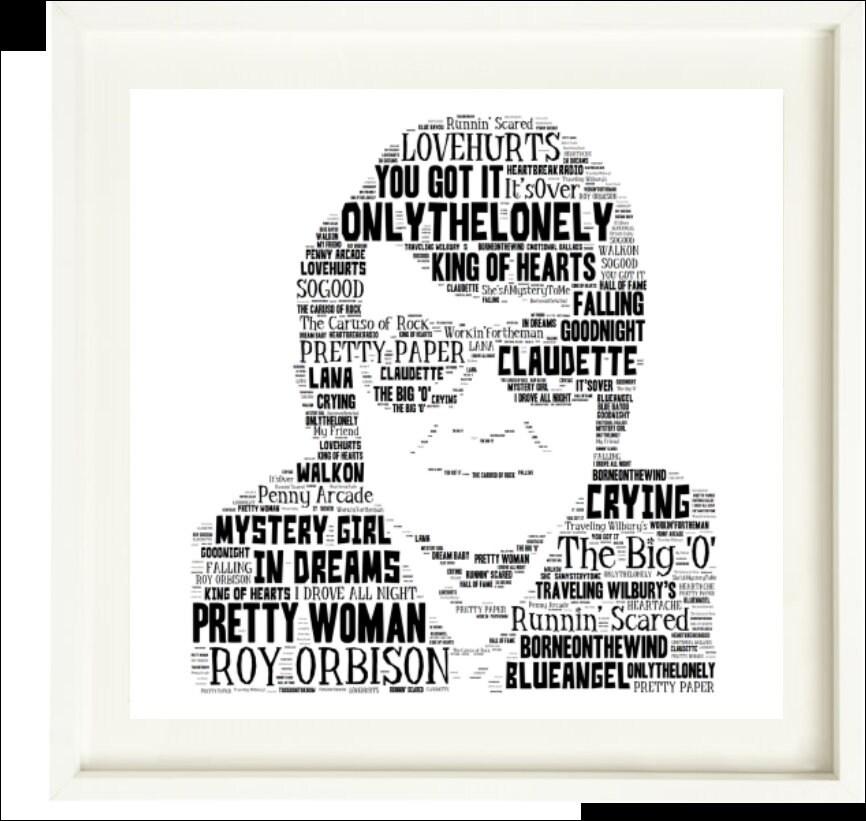 Roy Orbison Tribute - Music Songs Word Art Unique Music  Icons/Memorabilia/Keepsake/Gift/Collectable - FREEPOST UK - Fast dispatch