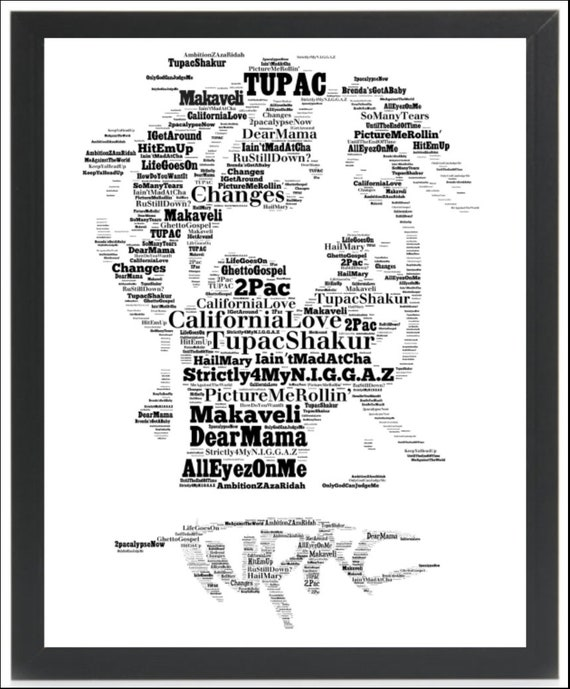 Tupac - 2Pac - Music Icon/Legend Songs - Word Art Unique  Keepsake/Collectible/Memorabilia/Gift - FREE-POST UK - Fast dispatch