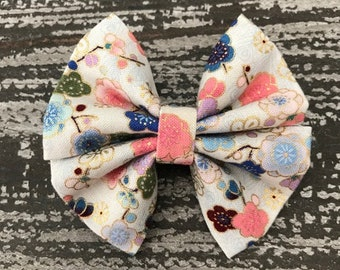Oriental Floral Fabric Hair Bow