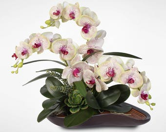 Real Touch Triple-Stem Silk Orchid Arrangement in a Curved Wooden Style Bowl #33A