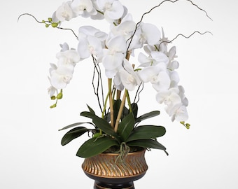 """Parisan Chic White Orchid Nestled in """"Gilded"""" Vase #43W"""