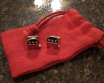 Brand new Republican Elephant Cufflinks with Red Pouch