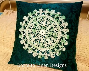 Gorgeous! Green Brocade Vintage Hand Crocheted Doily Pillow 15x15 Handmade One of of Kind Design Pillow