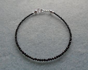 8 inch Black Spinel Bracelet, 925 Sterling Silver, Stacking