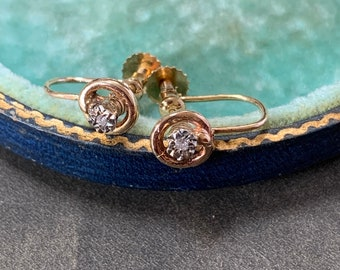 Victorian 9ct Gold Diamond Earrings Snake Style Surround Antique Edwardian Studs