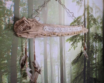 Driftwood jewelry organizer with gold hooks,lace and reused feathers