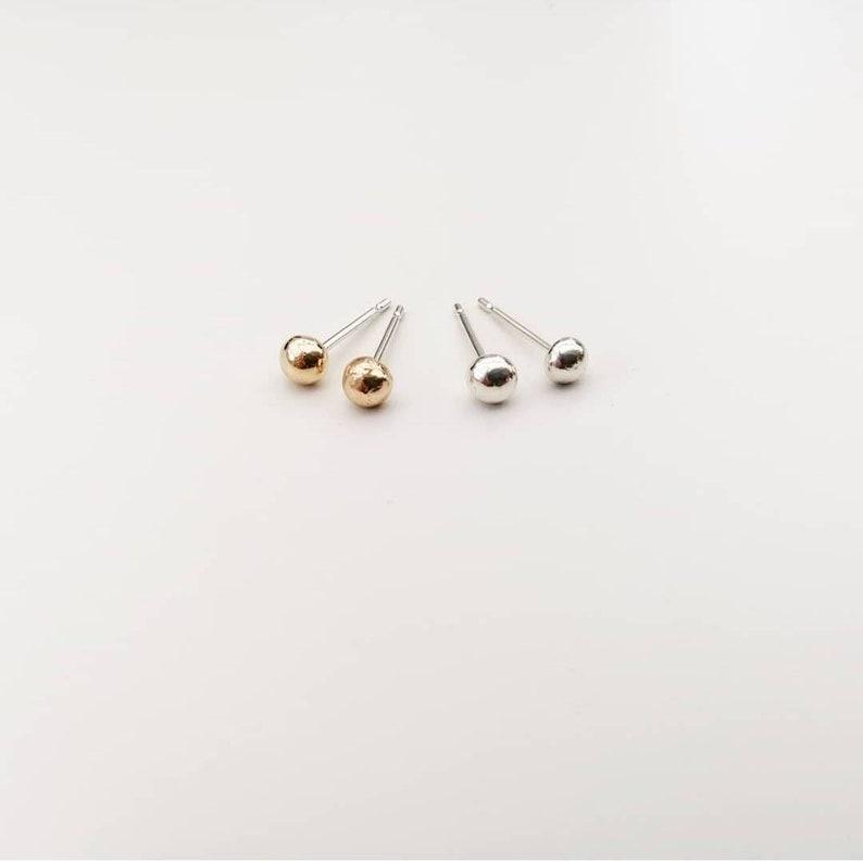 3302870fc68f4 Mini moon silver studs. Gold sun studs. Molten moon earrings. Organic  Molten studs earrings.