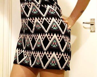 Aztek print bardot off the shoulder dress