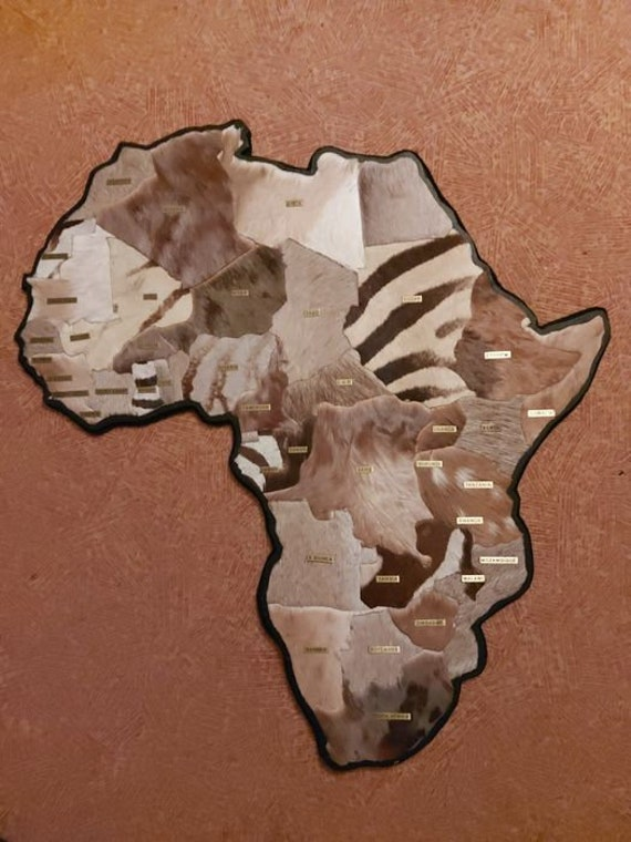 Unusual Map of Africa - crafted from Safari Skins, back-felted and with country labels - - Antidorcas hofmeyri, Damaliscus phillipsi,