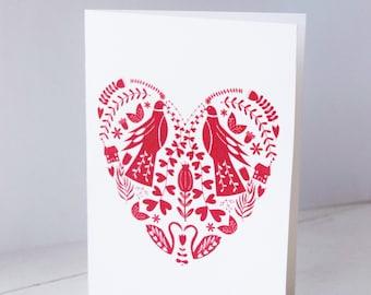 Folk Heart Greeting Card