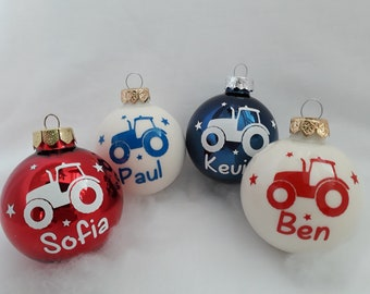 Christmas Ball with Tractor and Custom Name | personalized Christmas tree ball | Christmas Ball | Christmas Tree Ornament | Young