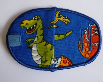 Dinosaurs reusable, reversible cloth cotton children's eye patch for lazy eye, squint, amblyopia, glasses