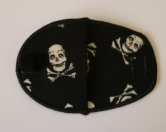 Skull & Crossbones fabric, cloth, cotton reusable eye patch for children, glasses, lazy eye treatment, amblyopia, occlusion