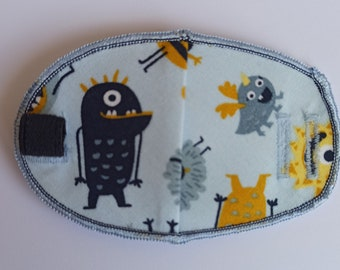 Little Monsters reusable orthoptic eye patch for kids & adults with lazy eye,  squint, amblyopia, glasses