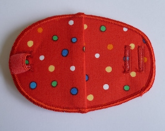 Red spotty reusable cotton children's eye patch for lazy eye treatment, squint, glasses, amblyopia, occlusion therapy