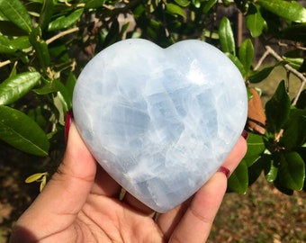 NEW! Large Blue Calcite Heart || #3