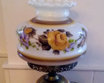 Gone With the Wind LAMP Yellow Roses Wildflowers 3 Way VINTAGE