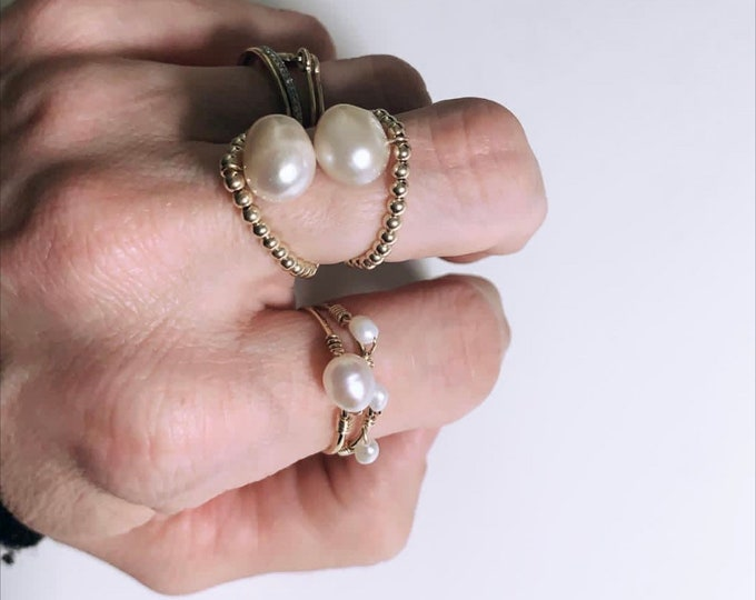 """Navy Pearl"" ring"