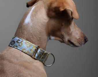 Martingale, Limited Slip, Buckle Dog Collar /Blue and Gold/ Silk Brocade/ Sighthound Collar / Training Collar