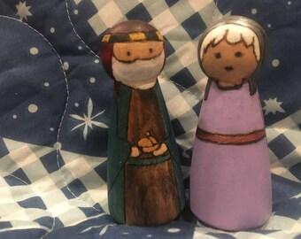 LDS Book of Mormon Lehi and Sariah peg dolls