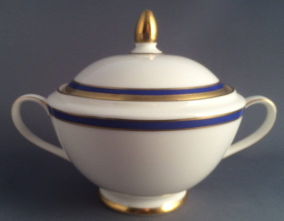 Minton Saturn bleu Lidded manipulé bol de sucre pour le thé